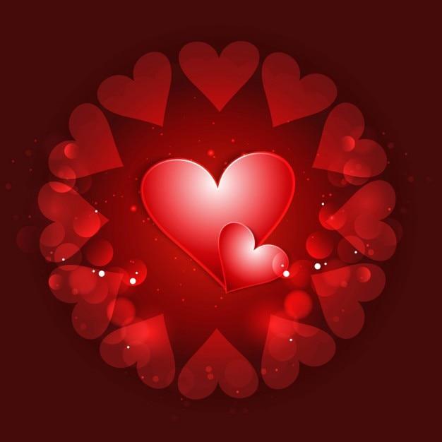 Famoso Amore sfondo con cuori rossi | Scaricare vettori gratis CC97
