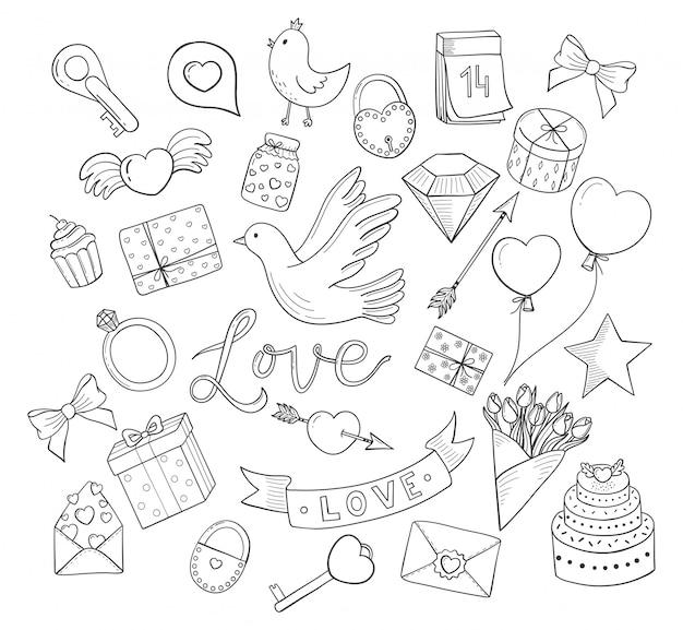 Amore stabilito del fumetto disegnato a mano di scarabocchi. cuori, fiori, uccelli, palloncini e altro ancora. Vettore Premium