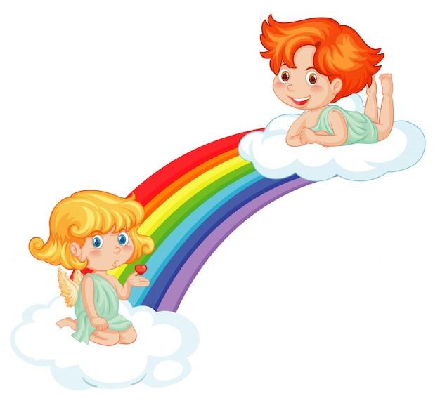 Amorini carini su arcobaleno Vettore gratuito