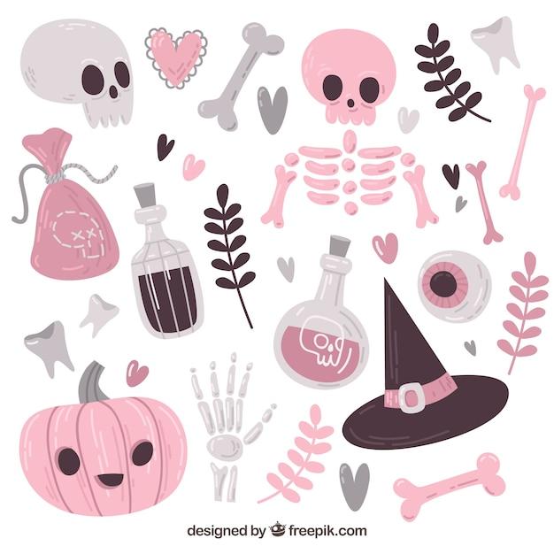 Ampia varietà di elementi di halloween Vettore gratuito