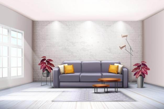 Ampio spazio interno con lampade da terra per divani e toni decorativi violacei con foglie colorate e piante realistiche Vettore gratuito