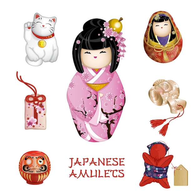 Amuleti giapponesi: kokeshi, gatto felice, omamori, daruma, saruboba Vettore Premium