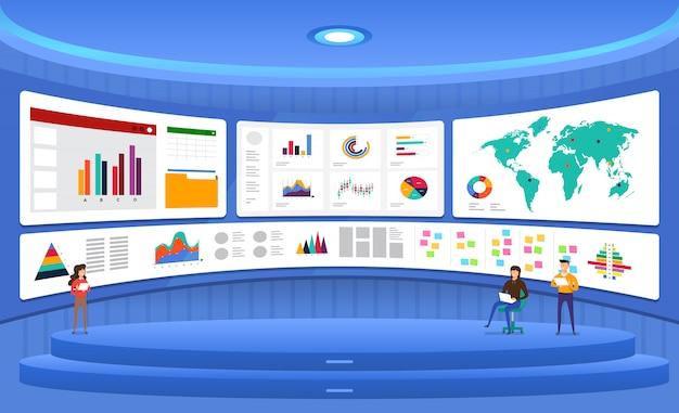 Analisi dei dati concettuali. visualizza con grafici e grafici la crescita del marketing. illustrazione. Vettore Premium