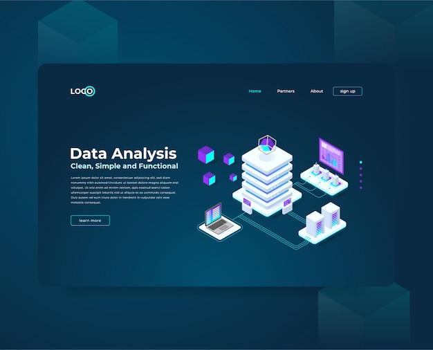 Analisi dei dati dell'illustrazione isometrica Vettore Premium