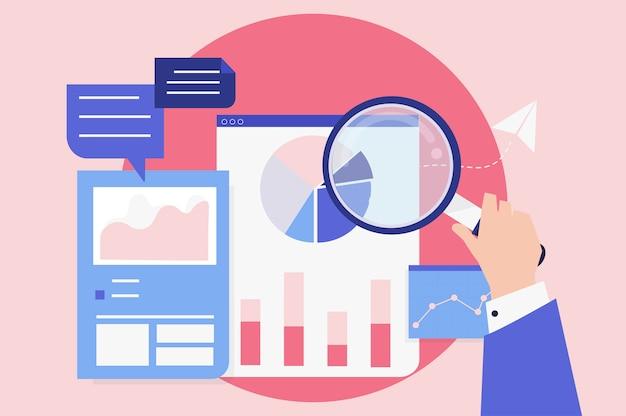 Analisi delle prestazioni aziendali con grafici Vettore gratuito