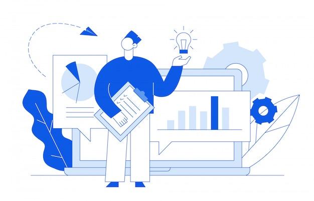 Analitica aziendale e concetto di idea Vettore Premium