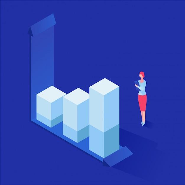 Analizzare le statistiche illustrazione isometrica Vettore Premium