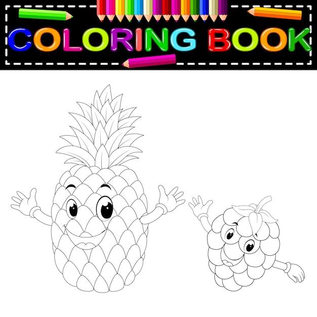 Ananas E Lampone Con Libro Da Colorare Scaricare Vettori Premium