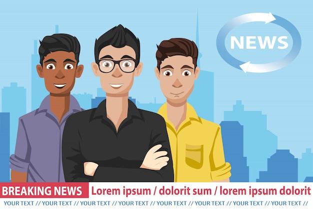 Anchormen sulle notizie di trasmissione televisiva Vettore Premium