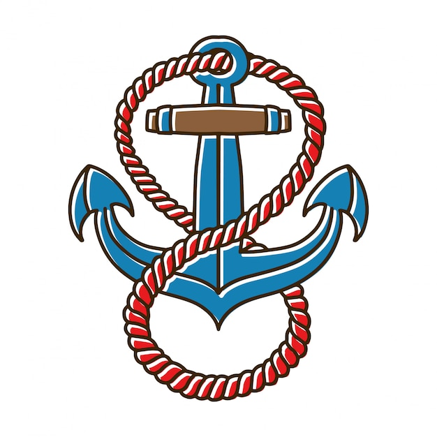 Anchors with rope tattoo Vettore Premium