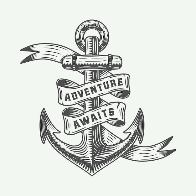 Ancora d'epoca con tipografia avventure. Vettore Premium