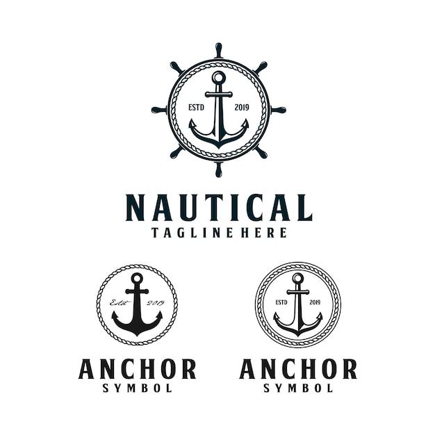Ancora, design del logo nautico hipster retrò con ruota della nave e corda circolare Vettore Premium