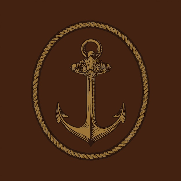 Ancora incisa in stile vintage disegnato a mano o in stile tatuaggio, disegno per tema marino, acquatico o nautico, taglio legno Vettore Premium