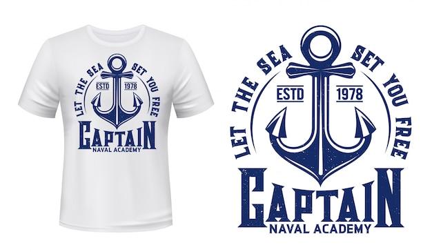 Ancora per nave, stampa t-shirt nautica marina Vettore Premium