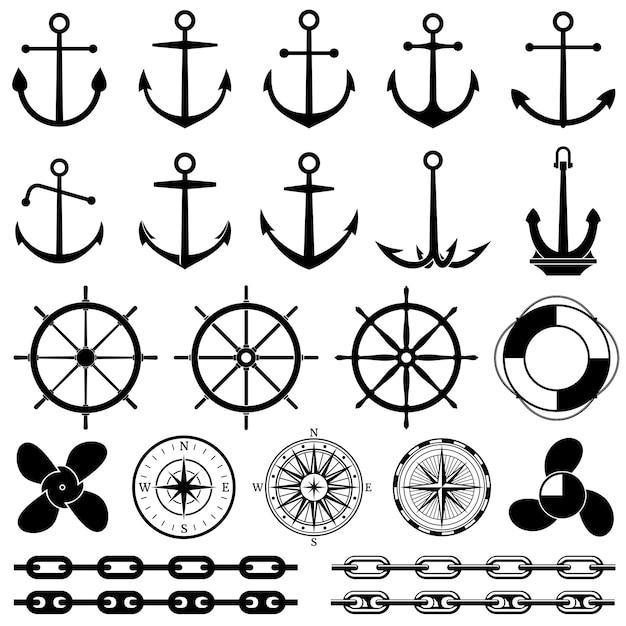 Ancore, timoni, catena, corda, icone vettoriali di nodo. elementi nautici per la progettazione marina Vettore Premium