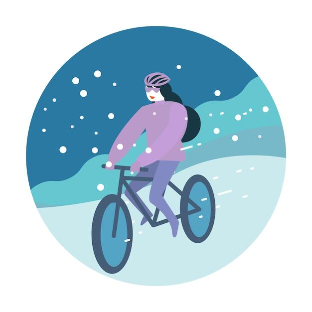 Andare in bicicletta d'inverno Vettore Premium