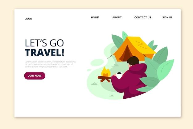 Andiamo alla pagina di destinazione del viaggio e del campeggio Vettore gratuito
