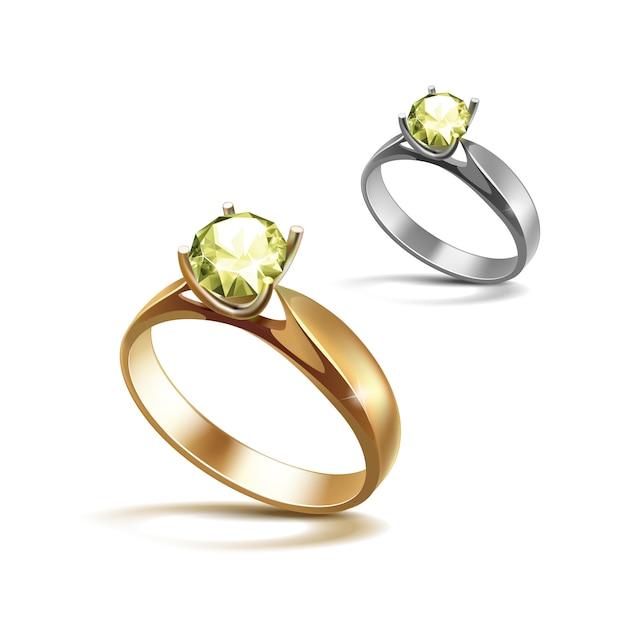 Anelli di fidanzamento di oro e argento con diamante chiaro lucido verde chiaro su isolato su bianco Vettore Premium