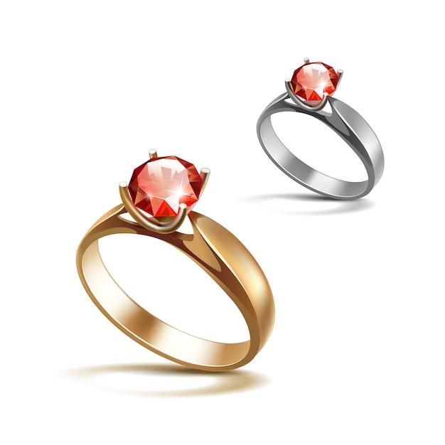 Anelli di fidanzamento di siver e dell'oro con la chiara fine lucida rossa del diamante in su isolata su bianco Vettore Premium