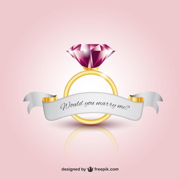 Anello di matrimonio con un diamante Vettore gratuito