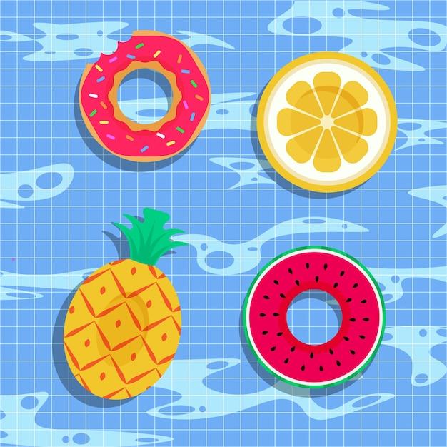 Anello di nuotata fantasia Vettore Premium