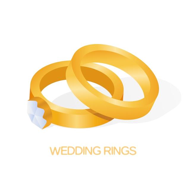 Anello dorato delle coppie di nozze con l'illustrazione brillante grande di vettore del diamante Vettore Premium