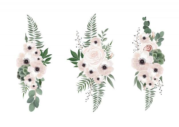 Anemone di disegno floreale bouquet vettoriale Vettore Premium