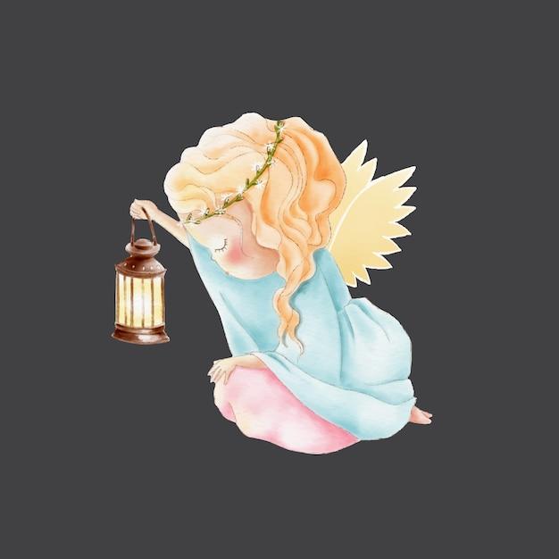 Angelo acquerello simpatico cartone animato con lampada Vettore Premium