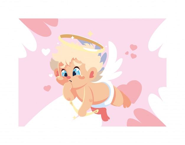 Angelo carino cupido, giorno di san valentino Vettore Premium