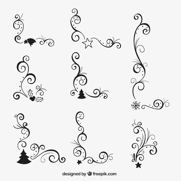 Angoli di natale ornamentali Vettore gratuito