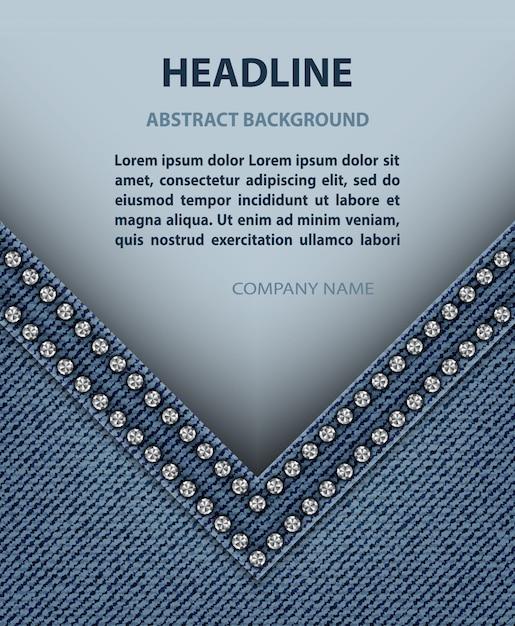 Angolo jeans con striscione di carta Vettore Premium