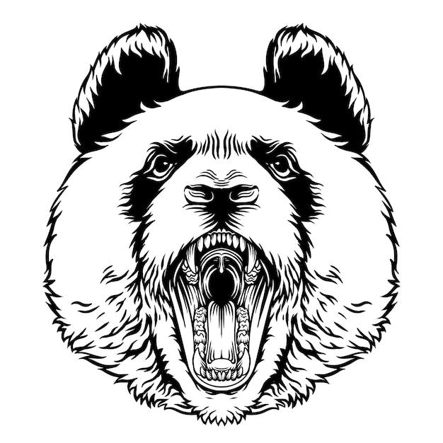 Angry roaring panda head vector mascot character Vettore Premium