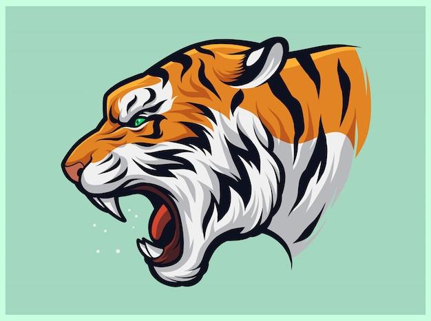 Angry roaring tiger, panthera tigris Vettore Premium