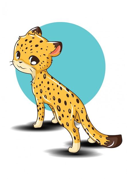 Animail sveglio del fumetto del leopardo., concetto animale del fumetto. Vettore Premium