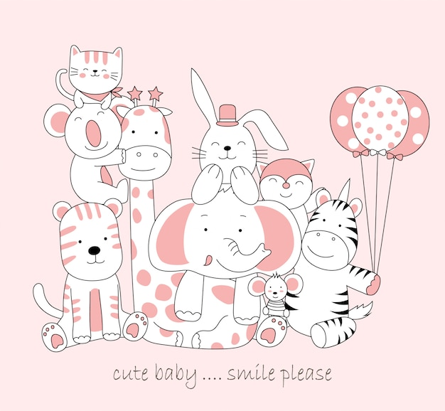 Animale bambino carino disegnato a mano. schizzo di cartone animato stile animale Vettore Premium