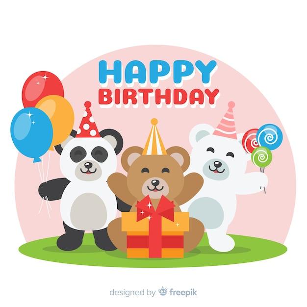 Animale compleanno piatto Vettore gratuito