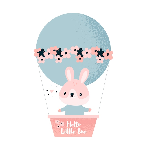 Animale da coniglio piccolo coniglio che vola in un pallone con fiori. ciao piccolo Vettore Premium