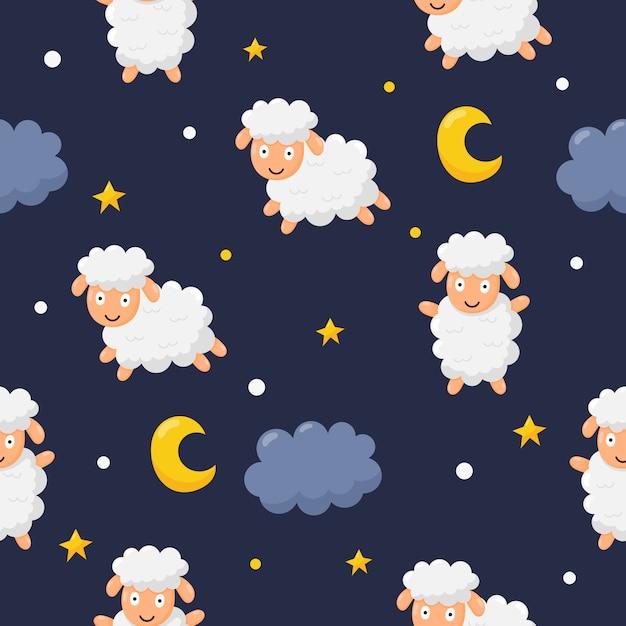 Animale divertente senza cuciture delle pecore di sogni dolci del modello Vettore Premium