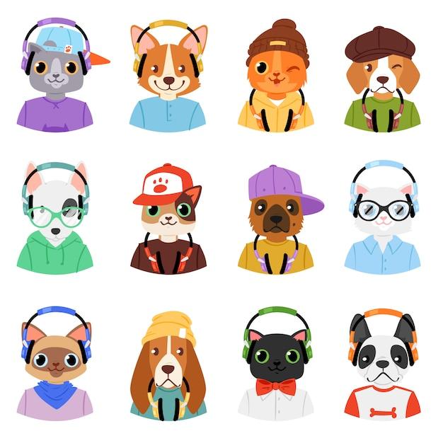 Animale in cuffie carattere animalesco gatto o cane in cuffie ascoltando musica illustrazione set di cartoon doggy selvaggio e kitty dj in copricapo o auricolari su sfondo bianco Vettore Premium