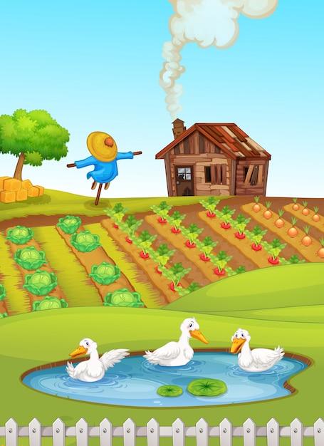 Animale nella fattoria della natura Vettore gratuito