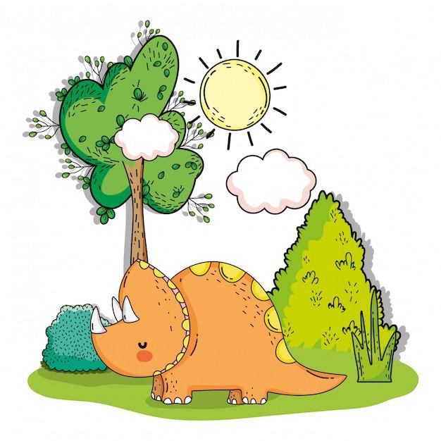 Animale preistorico triceratopo con albero e cespugli Vettore Premium