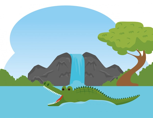 Animale selvatico del coccodrillo nella riserva del fiume Vettore gratuito