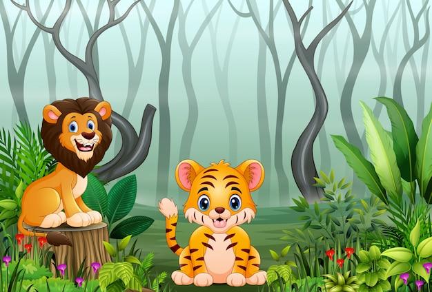 Animale selvatico del fumetto nella foresta con rami di albero secchi Vettore Premium