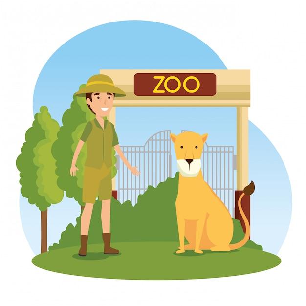 Animale selvatico leone con donna safari Vettore gratuito
