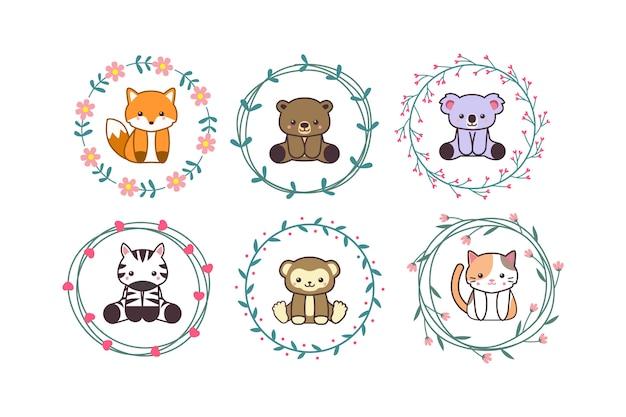 Animale sveglio del bambino con stile disegnato a mano del fumetto della corona floreale Vettore Premium