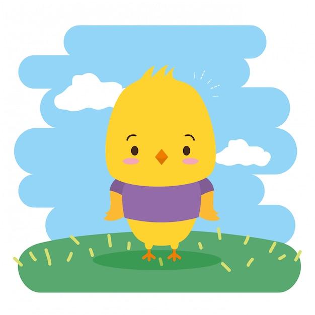 Animale sveglio del pollo, fumetto e stile piano, illustrazione Vettore gratuito