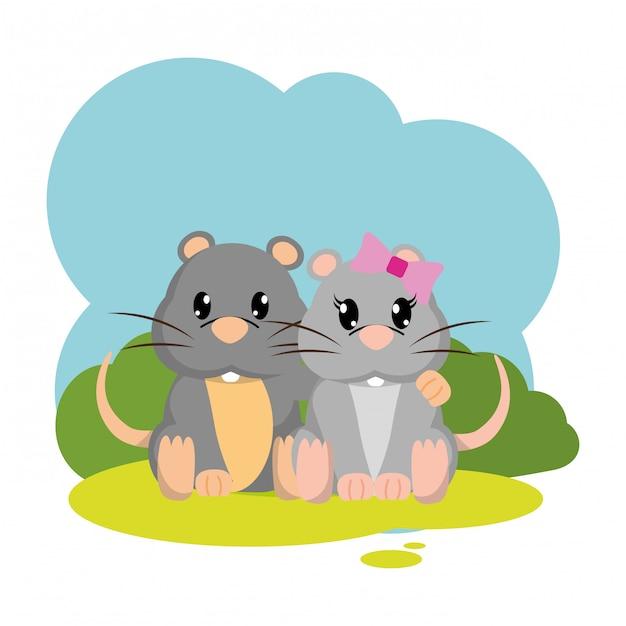 Animale sveglio delle coppie variopinte del topo nel paesaggio Vettore Premium