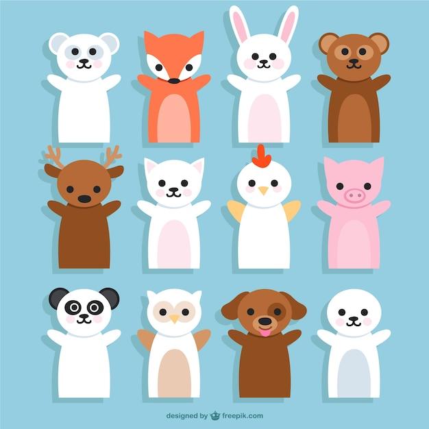 Animali burattini cartoons Vettore gratuito