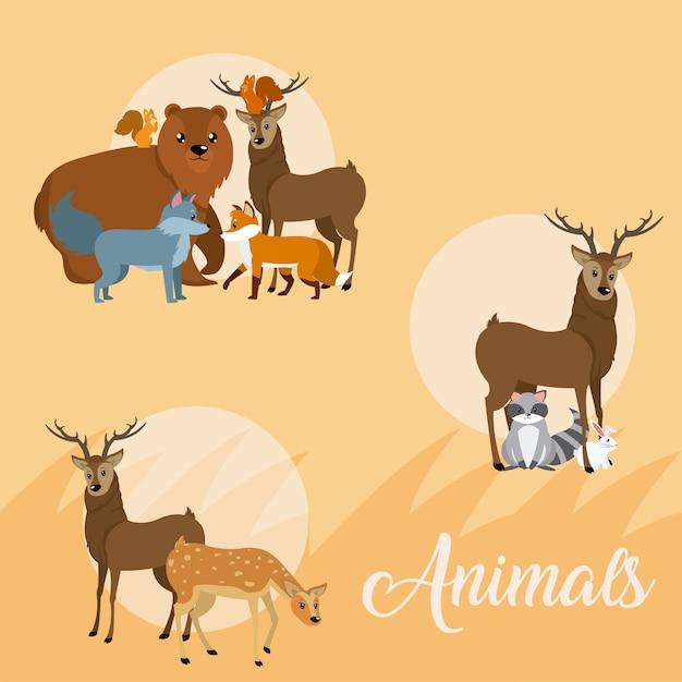 Animali carini icone rotonde cartoni animati Vettore Premium