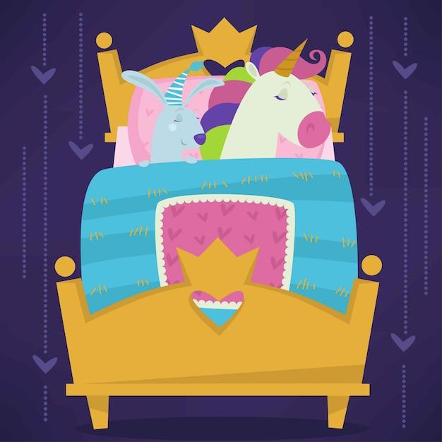 Animali che dormono nel vettore stabilito addormentato degli animali domestici di favola del letto. Vettore Premium